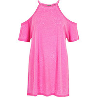 River Island Womens Bright pink cold shoulder oversized t-shirt