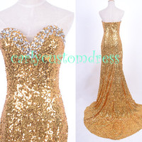Gold Sequins Long Prom Dress/Beaded Sequins Bridesmaid Dress/Long Evening Dress/Homecoming Dress/Graduation Dress/Formal Dress