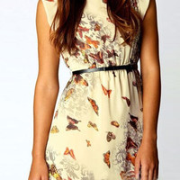 Apricot Butterfly Print Chiffon Mini Dress