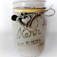 Aromatherapy Vase, Essential Oil Diffuser, Hand Painted Mason Jar, Hemp Twine Decor