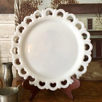Large Milk Glass Plate, Lace Edged Glass Platter, White Cake Plate, Large Serving Tray