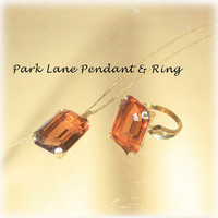 Fabulous Park Lane Large Amber Glass Stone Ring and Matching Pendant in Gold tone