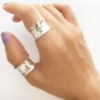 Sterling Silver Band Bing • Wide Cuff Ring • Hammered Cuff Ring • Hammered Ring • Cuff Ring • Adjustable Ring • Wide Band Ring