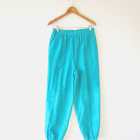 Vintage 80's 100% SILK Teal BILL BLASS Pleated Front Relaxed Jogger Elastic Cuff Pants Sz M