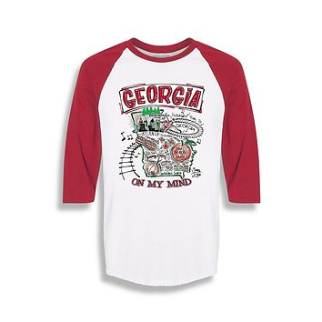 Sassy Frass Georgia on My Mind State GA Raglan Girlie Bright T Shirt