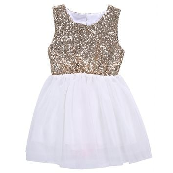 Sequins Princess Kids Baby Flower Girl Dress Bow-knot Backless Wedding Party Gown Dresses