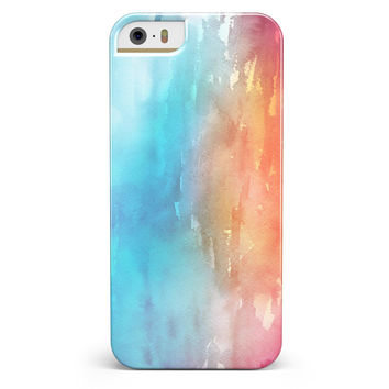Turquoise to Pink Absorbed Watercolor Texture iPhone 5/5s or SE INK-Fuzed Case
