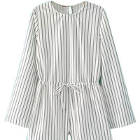 Monochrome Stripe Split Sleeves Tie Waist Romper Playsuit