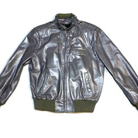 Grey Vintage Leather Jacket, Size 40 Regular, Removeable Warm Lining, Contour, Members Only Style
