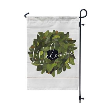 Welcome Farmhouse Magnolia Wreath Garden Flag