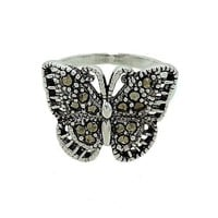 Delicate Butterfly Ring with Genuine Marcasite
