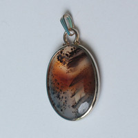 Picture Agate Pendant Gold Filled Oval Vintage
