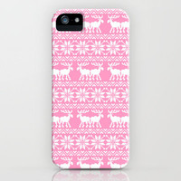 Ugly Christmas Sweater Moose Pattern Pink iPhone Case by Rex Lambo   Society6