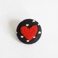 Red heart embroidery brooch. french knots button pin. Gifts under 25. gifts for her. Valentine's day. One of a kind.