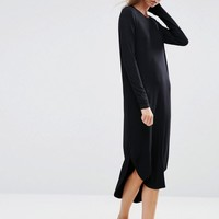 ASOS | ASOS Slouch Dress In Rib with Curved Hem at ASOS