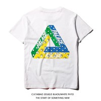 Street Dance Triangle Color Cotton Couple Short Sleeve [10351477895]