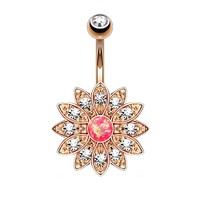 BodyJ4You Belly Button Ring Pink Created-Opal Flower Navel Rose Goldtone Piercing Jewelry