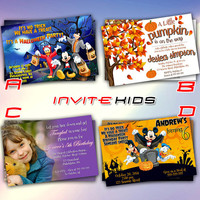 Mickey Donal Pumkin Disney - Invitation Card - Birthday Party Kids - InviteKids