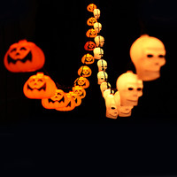 Halloween Decoration String Lights 3.5M 16 LED Pumpkin Skull Fairy String Lights for Outdoor, Patio, Garden. AC220V or Battery