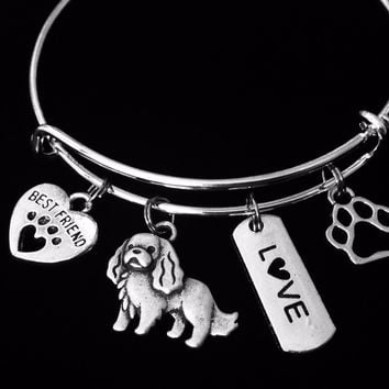 Cavalier King Charles Spaniel Expandable Charm Bracelet Silver Adjustable Wire Bangle Gift Best Friend Paw Print Pet Animal Lover English Toy Spaniel Jewelry One Size Fits All Gift