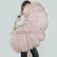 Beige Wood single layer Ostrich Feather Fan by lawrencelv on Etsy