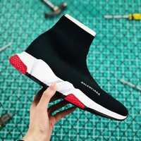 Balenciaga Stretch In Black Knit Speed Trainers With White And Red Sole Sneaker - Best Online Sale