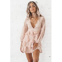 Blushing On You Tiered Lace Dress
