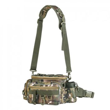 34x17x16cm Outdoor Camouflage Fishing Reel Lure Photography Camera Storage Bag Waist Shoulder Messenger Fishing Bag