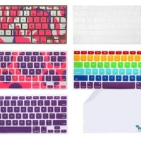 "The Friendly Swede Basics - 5-pattern Silicone Keyboard Skins/Covers for Macbook 13"" Unibody / Macbook Pro 13"" 15"" 17"" / Macbook Pro 15 With Retina Display / Mac Wireless Keyboard + XXL Cleaning Cloth (Purple Themed)"