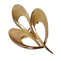 Three Leaf Brooch Vintage Costume Pin Brushed Gold Tone P147