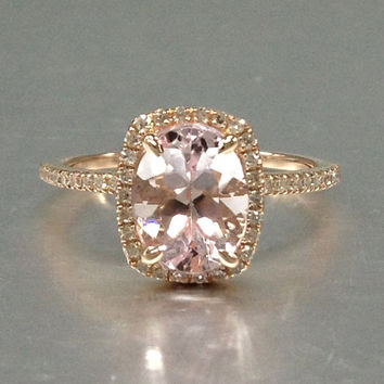 7x9mm Morganite Engagement ring rose gold,Diamond wedding band,14k,Oval Cut,Gemstone Promise Bridal Ring,Claw Prongs,Pave Set,Handmade ring