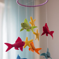 Fish Baby Mobile - Fish Nursery Mobile- Felt Nursery Mobile - Fish Crib Mobile - Fish Nursery Decor- Rainbow Fish Mobile - Colorful Mobile