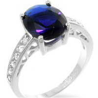 Evelina Sapphire Oval Solitaire Engagement Ring | 3ct | Cubic Zirconia | Sterling Silver