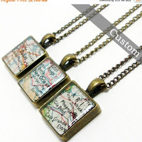 Halloween Sale CUSTOM Square Map Necklace. You Select Location. Anywhere In The World. One Necklace. Map Pendant. Map Jewelry. Travel. Perso