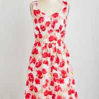 Long Sleeveless A-line Let's Be Photorealistic Dress in Poppies