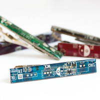Techie Tie clip - circuit board - recycled computer - geeky tie bar - palladium plated, resin