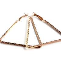 """Shaped Up"" Gold Triangle Shaped Hoop Earrings"
