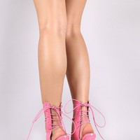 Patent Strappy Button Accent Back Corset Lace Up Stiletto Heel