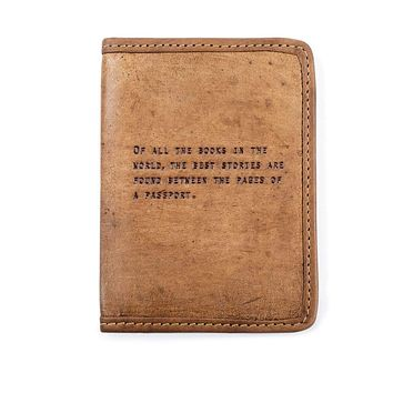 Leather Passport Cover - Of All the Books in the World