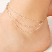 1 ROW DIAMOND 3 CHAIN ANKLET