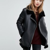 New Look Faux Shearling Suedette Aviator Jacket at asos.com