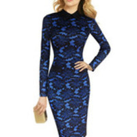 Plus Size Long Sleeve Bodycon Lace Midi Dress with Collar