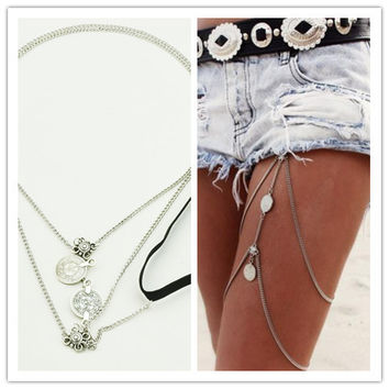 New Fashion Women/Girl's cool  chain link leg necklaces jewelry gifts free shipping AN52