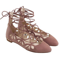 Nude Lace Up Ballet Shoes
