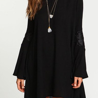 Black Long Sleeve Chiffon Mini Dress