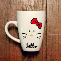 """Kitty mug - Can say """"Hello"""" or can be customized with a name - Hand drawn"""