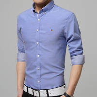 Men Solid Long Sleeve Casual Shirt Mens Slim Fit Dress Clothes 7 Candy Color Plus Size:M-4XL Camisa Masculina High-quality