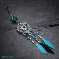 Glam Heart Dreamcatcher Feathered Belly Button Ring