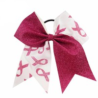 """Breast Cancer Support Cheer Bow 7"""" High  Patchwork  Glitter Ribbon"""