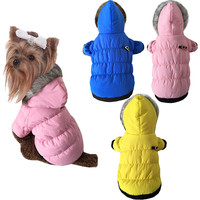 Cute Dog cat Pet cotton padded down Jacket Coat fur collar Winter warm dog puppy hoodie snow suit Chihuahua dog clothes